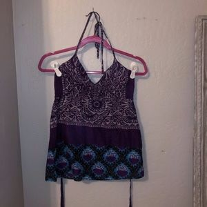 Wet Seal Bohemian Island Print V-neck Halter Top